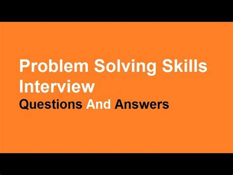 Examples of problem solving interview answers